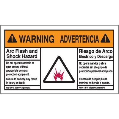 Bilingual Warning Arc Flash Label