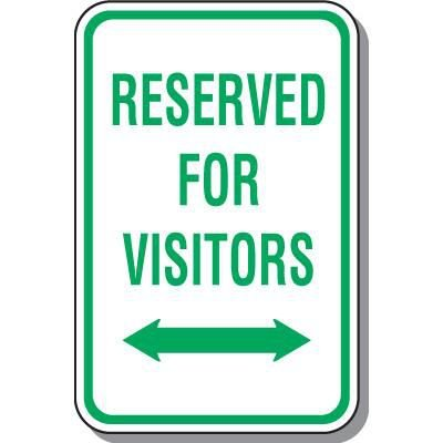 Reserved For Visitors Parking Sign with Arrow