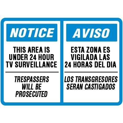 Bilingual Notice Area Under Surveillance Signs