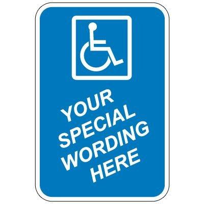 "24"" x 18"" Blue Handicap Sign (Semi-Custom)"