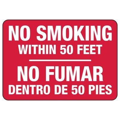 Bilingual No Smoking Within 50 Feet Sign
