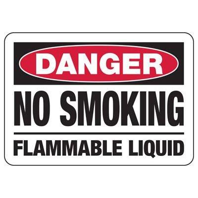 Danger No Smoking Flammable Liquid Sign