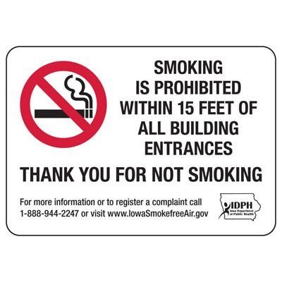 Iowa Smoking Is Prohibited Sign