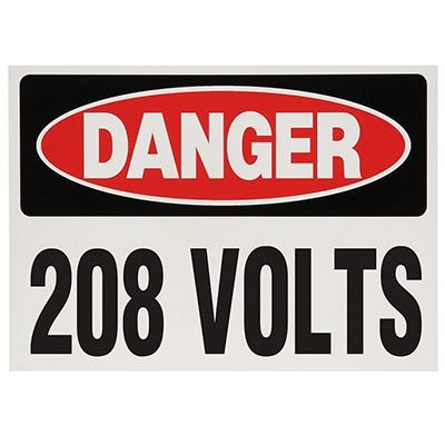 Voltage Warning Labels - Danger 208 Volts