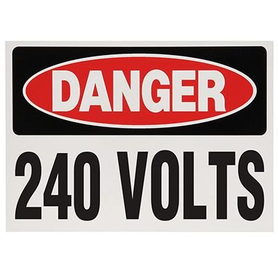 Voltage Warning Labels - Danger 240 Volts