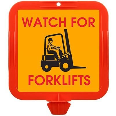 Watch For Forklifts Safety Cone Sign