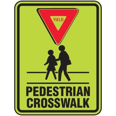 Yield Pedestrian Crosswalk (Graphic) - Fluorescent Pedestrian Signs