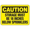 Caution Storage Below Sprinklers Sign
