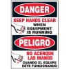 Bilingual Danger Keep Hands Clear Label