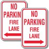 No Parking Fire Lane Sign with Arrow