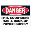 Voltage Warning Labels - Danger Back Up Power Supply