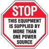 Voltage Warning Labels - Stop This Equipment Is Supplied By
