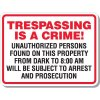 Trespassing Is A Crime Unauthorized Persons Signs