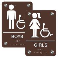 Girl/Boy (Accessibility) - Premium ADA Braille Restroom Sign Sets