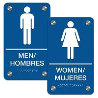 Man/Woman - Bilingual Premium ADA Braille Restroom Sign Sets