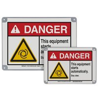 ToughWash® Encapsulated Signs - Danger This Equipment Starts