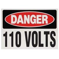 Voltage Warning Labels - Danger 110 Volts
