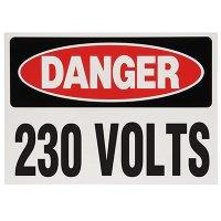 Voltage Warning Labels - Danger 230 Volts