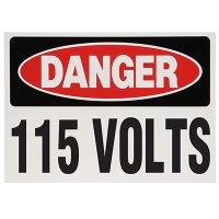 Voltage Warning Labels - Danger 115 Volts
