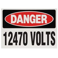 Voltage Warning Labels - Danger 12470 Volts