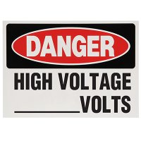 Voltage Warning Labels - Danger High Voltage __ Volts