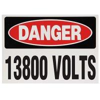 Voltage Warning Labels - Danger 13800 Volts