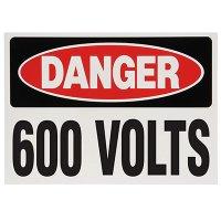 Voltage Warning Labels - Danger 600 Volts