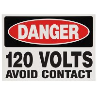 Voltage Warning Labels - Danger 120 Volts Avoid Contact