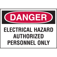 High Performance EmedcoUltraTuff™ Polyester Labels - Electrical Hazard Authorized personnel Only