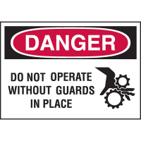 High Performance EmedcoUltraTuff™ Polyester Labels - Do Not Operate Without Guards In Place
