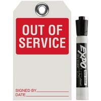 Out Of Service Dry Erase Tag