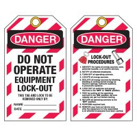 Danger Do Not Operate Lockout Procedures Tag (Durotag)