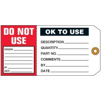 O.K. To Use/Do Not Use 2-in-1 Status Tag