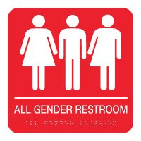 All Gender Restroom - Braille Restroom Signs
