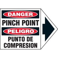 Bilingual Arrow Labels - Danger Pinch Point