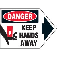 Arrow Labels - Danger Keep Hands Away