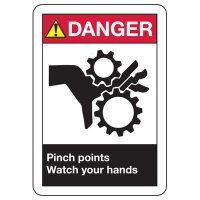 ANSI Danger Pinch Points Watch Your Hands Sign
