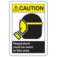 ANSI Caution Respirators Worn Signs