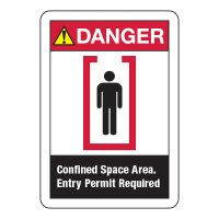 ANSI Signs - Danger Confined Space Area Entry Permit Required