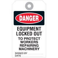Equipment Locked Out Accident Prevention Tag