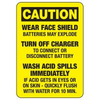 Caution Battery Charging Rules Sign