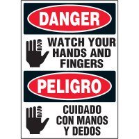 Bilingual Hazard Labels - Danger Peligro Watch Your Hands And Fingers