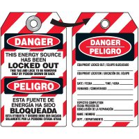 Danger Energy Source Locked Out - Bilingual DuroTag
