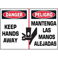 Bilingual Hazard Labels - Danger Keep Hands Away