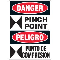 Bilingual Hazard Labels - Danger Pinch Point
