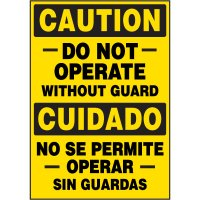 Bilingual Hazard Labels - Caution Do Not Operate Without Guard