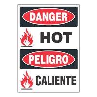ToughWash® Adhesive Signs - Danger Hot (Bilingual)