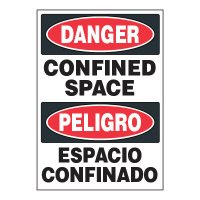 ToughWash® Adhesive Signs - Confined Space (Bilingual)