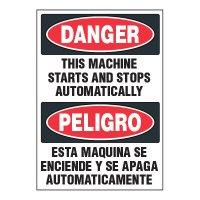 Adhesive Signs - Danger Machine Starts (Bilingual)