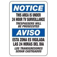 Bilingual Notice Area Under Surveillance Sign